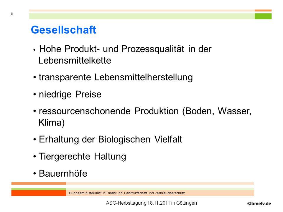 Bundesministerium für Ernährung, Landwirtschaft und Verbraucherschutz 5 ASG-Herbsttagung 18.11.2011 in Göttingen Gesellschaft Hohe Produkt- und Prozes