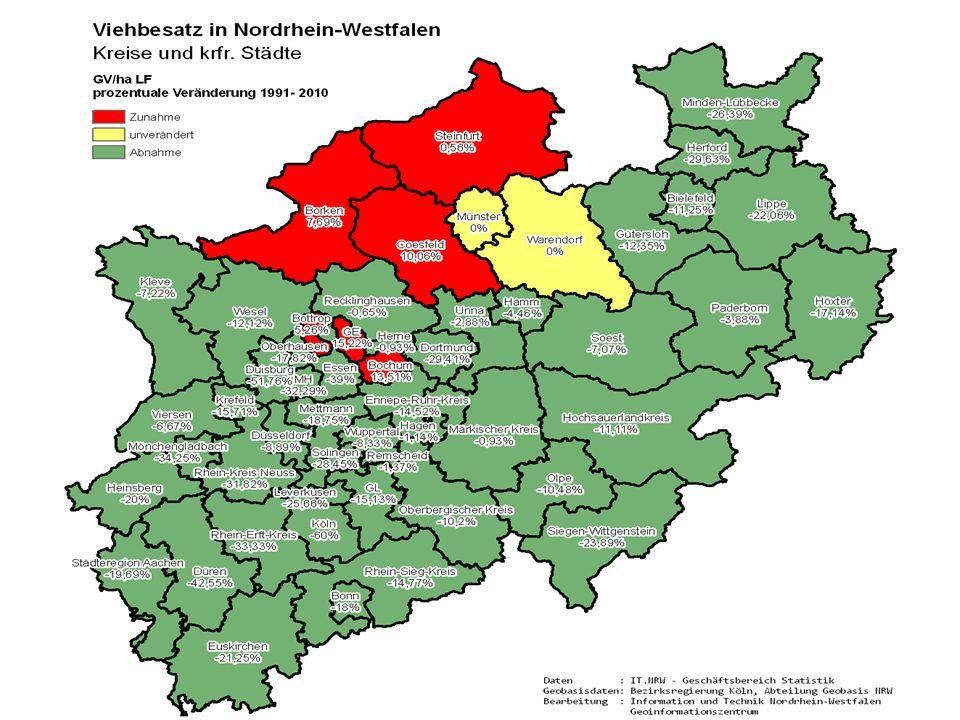 JahrDurchschn. Viehbesatz GV/ha LF 19911,85 19951,81 19991,89 20031,85 20071,89 20101,93