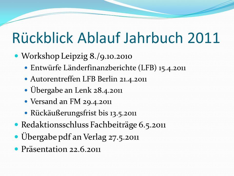 Rückblick Ablauf Jahrbuch 2011 Workshop Leipzig 8./9.10.2010 Entwürfe Länderfinanzberichte (LFB) 15.4.2011 Autorentreffen LFB Berlin 21.4.2011 Übergabe an Lenk 28.4.2011 Versand an FM 29.4.2011 Rückäußerungsfrist bis 13.5.2011 Redaktionsschluss Fachbeiträge 6.5.2011 Übergabe pdf an Verlag 27.5.2011 Präsentation 22.6.2011