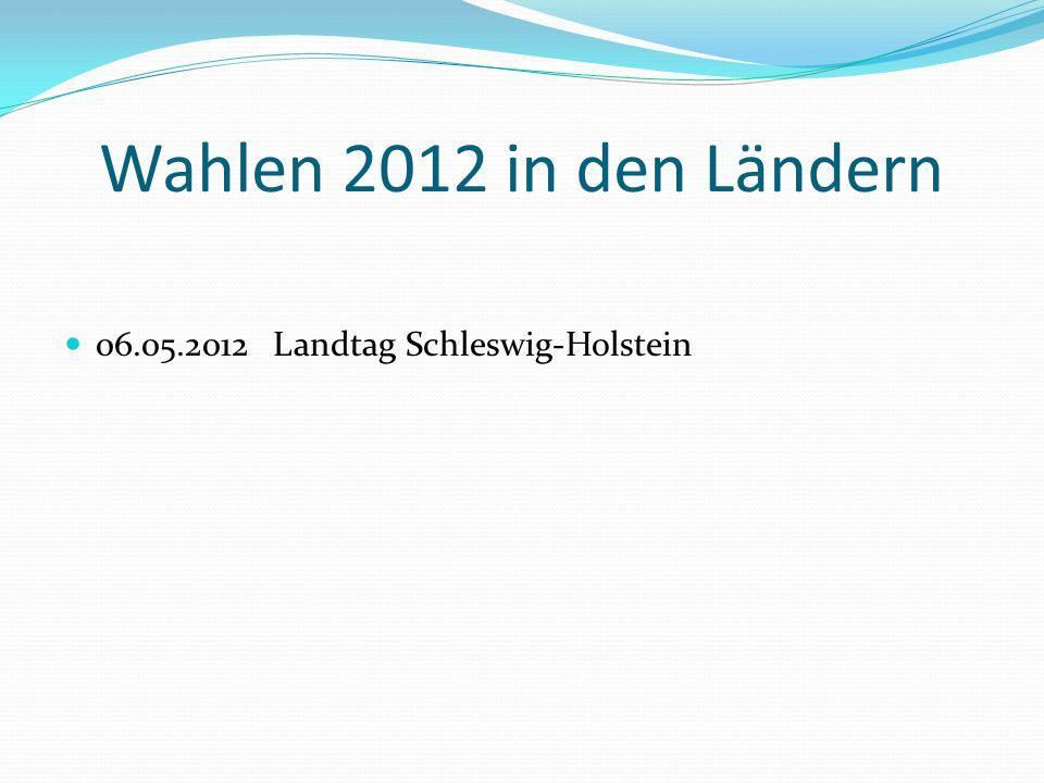 Wahlen 2012 in den Ländern 06.05.2012Landtag Schleswig-Holstein
