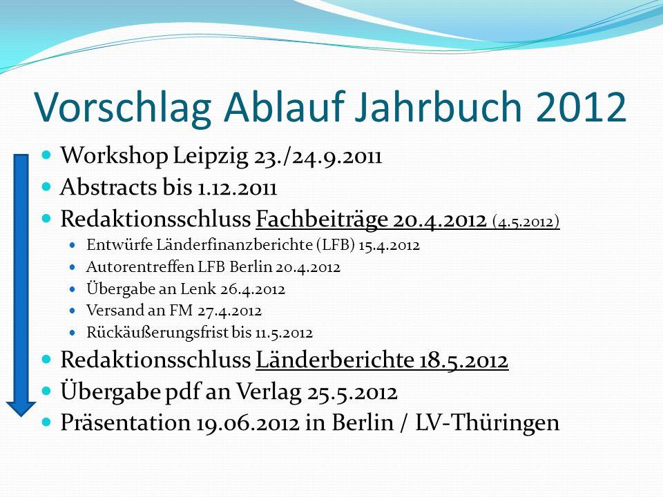 Vorschlag Ablauf Jahrbuch 2012 Workshop Leipzig 23./24.9.2011 Abstracts bis 1.12.2011 Redaktionsschluss Fachbeiträge 20.4.2012 (4.5.2012) Entwürfe Länderfinanzberichte (LFB) 15.4.2012 Autorentreffen LFB Berlin 20.4.2012 Übergabe an Lenk 26.4.2012 Versand an FM 27.4.2012 Rückäußerungsfrist bis 11.5.2012 Redaktionsschluss Länderberichte 18.5.2012 Übergabe pdf an Verlag 25.5.2012 Präsentation 19.06.2012 in Berlin / LV-Thüringen