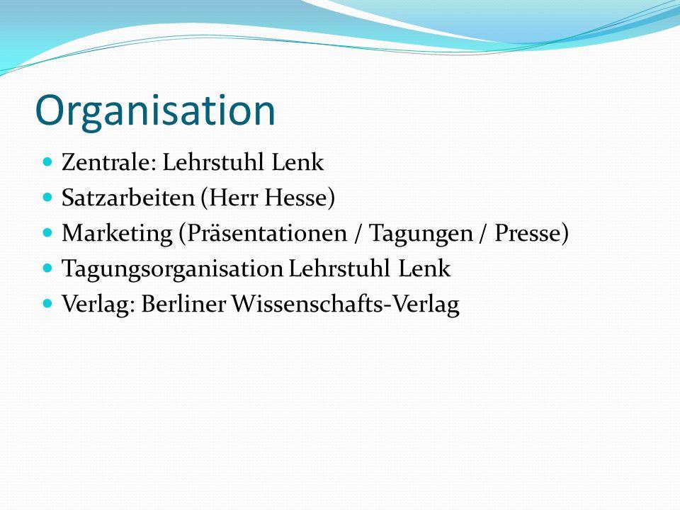 Organisation Zentrale: Lehrstuhl Lenk Satzarbeiten (Herr Hesse) Marketing (Präsentationen / Tagungen / Presse) Tagungsorganisation Lehrstuhl Lenk Verlag: Berliner Wissenschafts-Verlag