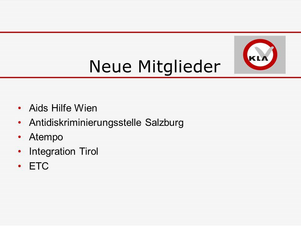 Neue Mitglieder Aids Hilfe Wien Antidiskriminierungsstelle Salzburg Atempo Integration Tirol ETC