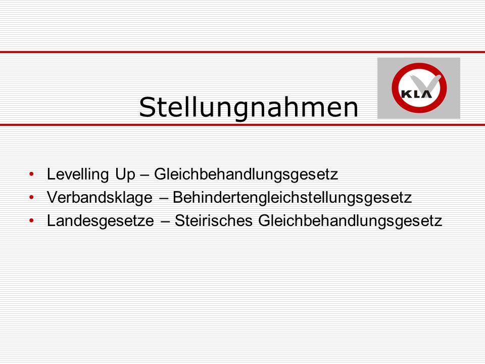 Stellungnahmen Levelling Up – Gleichbehandlungsgesetz Verbandsklage – Behindertengleichstellungsgesetz Landesgesetze – Steirisches Gleichbehandlungsgesetz