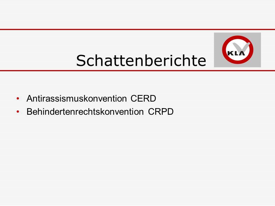 Schattenberichte Antirassismuskonvention CERD Behindertenrechtskonvention CRPD