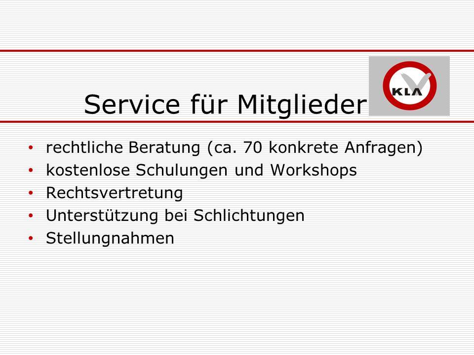 Service für Mitglieder rechtliche Beratung (ca.