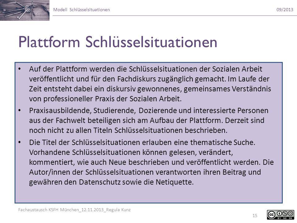 Fachaustausch KSFH München_12.11.2013_Regula Kunz Modell Schlüsselsituationen09/2013 Plattform Schlüsselsituationen Auf der Plattform werden die Schlü