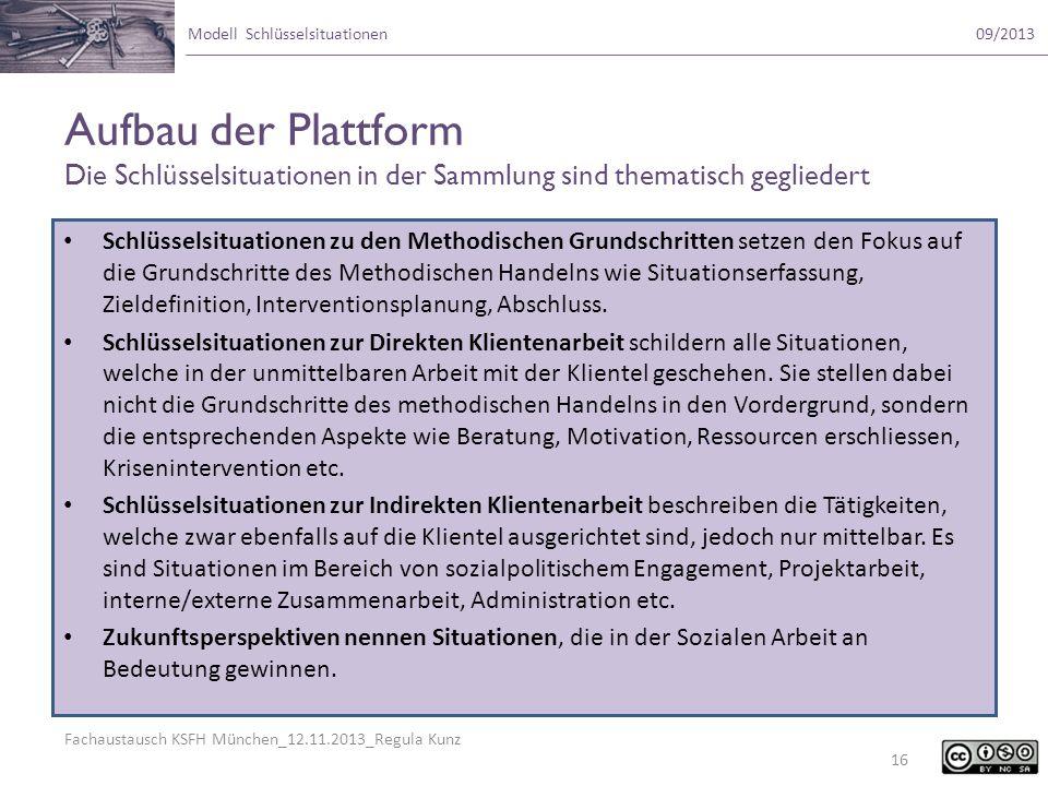 Fachaustausch KSFH München_12.11.2013_Regula Kunz Modell Schlüsselsituationen09/2013 Aufbau der Plattform Die Schlüsselsituationen in der Sammlung sin