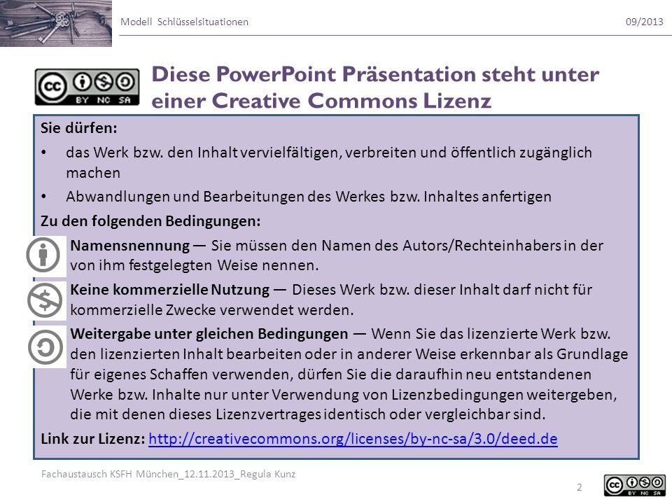 Fachaustausch KSFH München_12.11.2013_Regula Kunz Modell Schlüsselsituationen09/2013 Sie dürfen: das Werk bzw. den Inhalt vervielfältigen, verbreiten