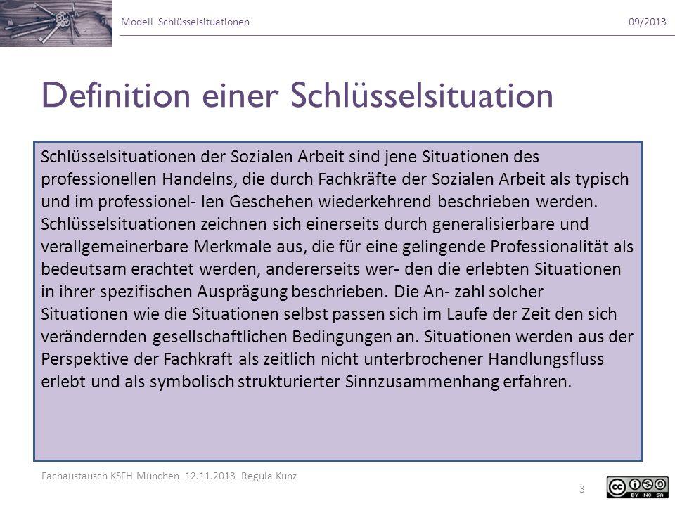 Fachaustausch KSFH München_12.11.2013_Regula Kunz Modell Schlüsselsituationen09/2013 Definition einer Schlüsselsituation Schlüsselsituationen der Sozi