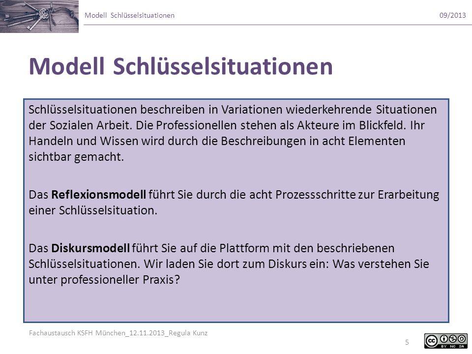 Fachaustausch KSFH München_12.11.2013_Regula Kunz Modell Schlüsselsituationen09/2013 Modell Schlüsselsituationen Schlüsselsituationen beschreiben in V