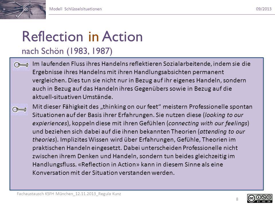 Fachaustausch KSFH München_12.11.2013_Regula Kunz Modell Schlüsselsituationen09/2013 Im laufenden Fluss ihres Handelns reflektieren Sozialarbeitende,