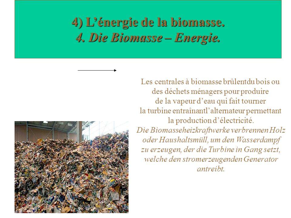 4) Lénergie de la biomasse. 4. Die Biomasse – Energie.