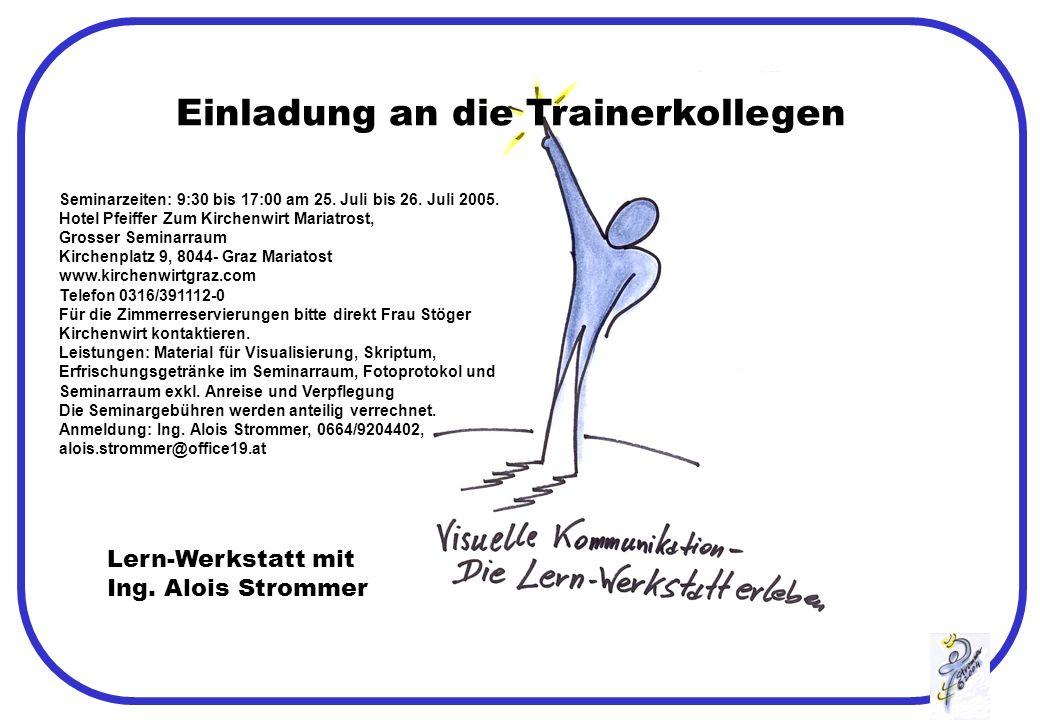 Einladung an die Trainerkollegen Lern-Werkstatt mit Ing.