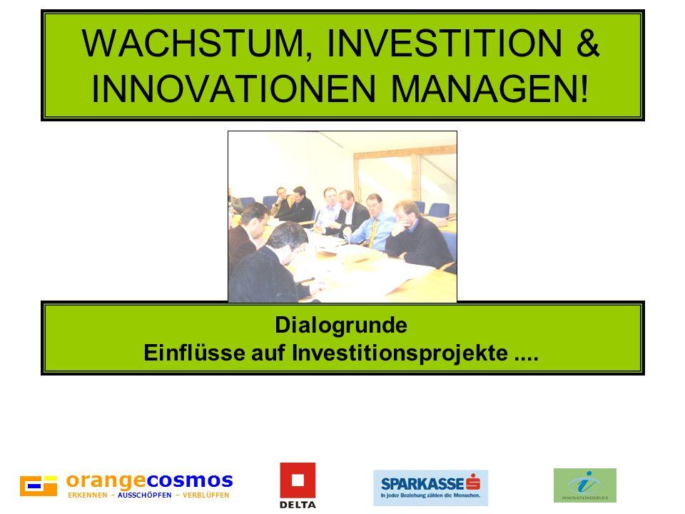 orangecosmos ERKENNEN – AUSSCHÖPFEN – VERBLÜFFEN WACHSTUM, INVESTITION & INNOVATIONEN MANAGEN! Dialogrunde Einflüsse auf Investitionsprojekte....