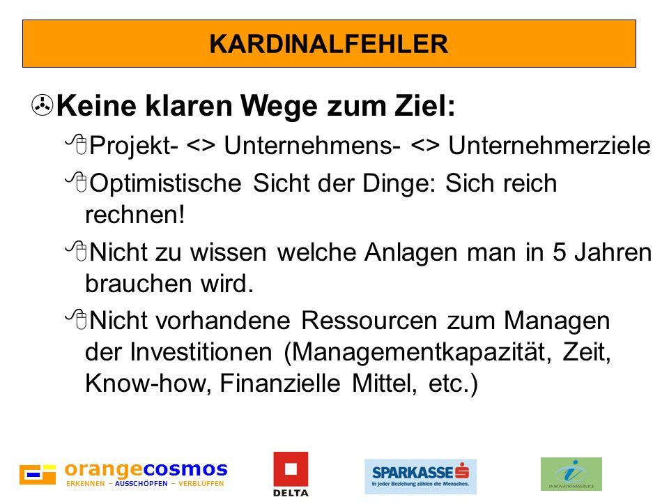 orangecosmos ERKENNEN – AUSSCHÖPFEN – VERBLÜFFEN KARDINALFEHLER >Keine klaren Wege zum Ziel: 8Projekt- <> Unternehmens- <> Unternehmerziele 8Optimisti