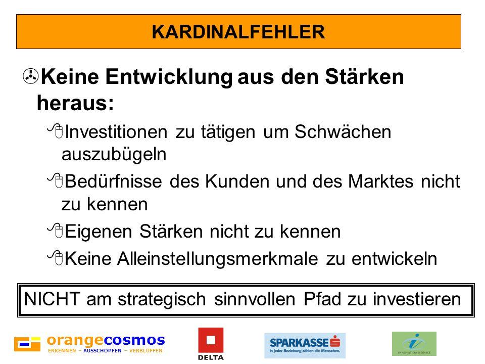 orangecosmos ERKENNEN – AUSSCHÖPFEN – VERBLÜFFEN KARDINALFEHLER >Keine Entwicklung aus den Stärken heraus: 8Investitionen zu tätigen um Schwächen ausz