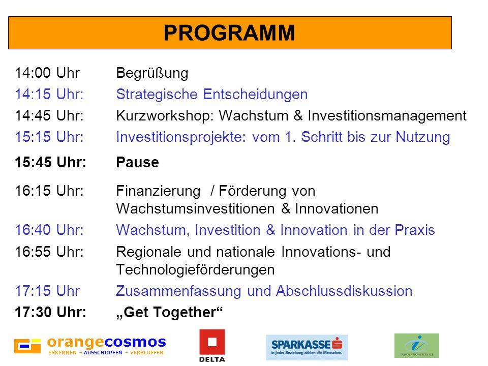 orangecosmos ERKENNEN – AUSSCHÖPFEN – VERBLÜFFEN PROGRAMM 14:00 UhrBegrüßung 14:15 Uhr:Strategische Entscheidungen 14:45 Uhr:Kurzworkshop: Wachstum &