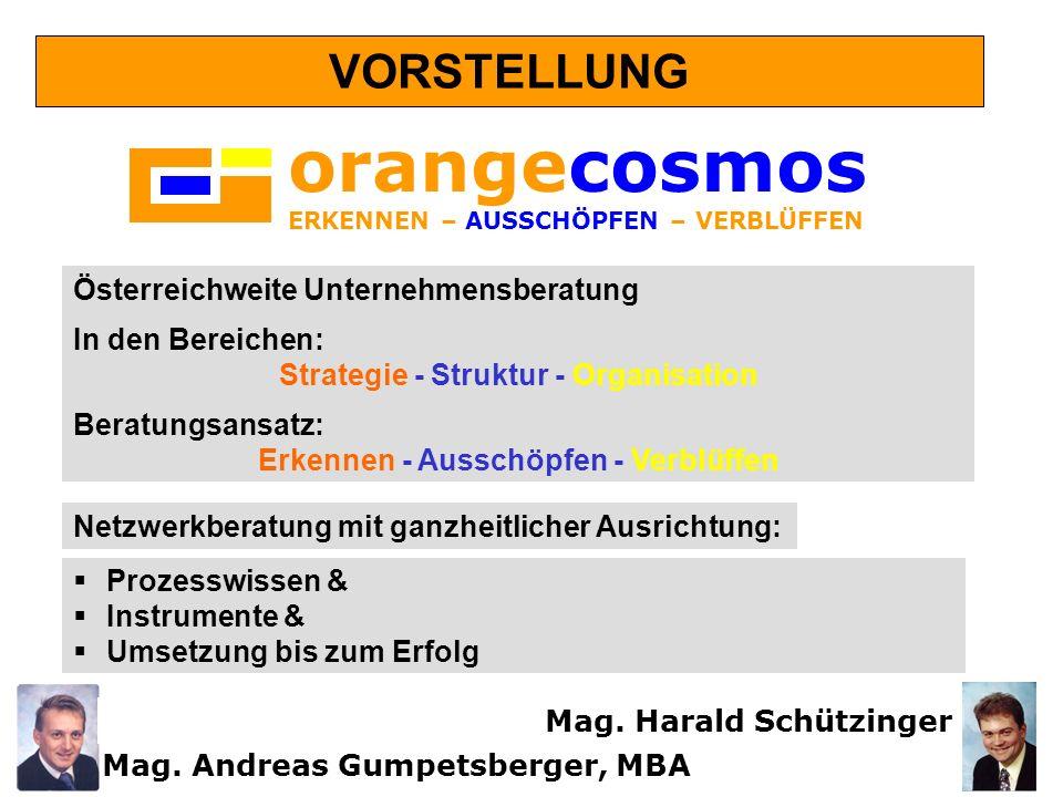 orangecosmos ERKENNEN – AUSSCHÖPFEN – VERBLÜFFEN Österreichweite Unternehmensberatung In den Bereichen: Strategie - Struktur - Organisation Beratungsa