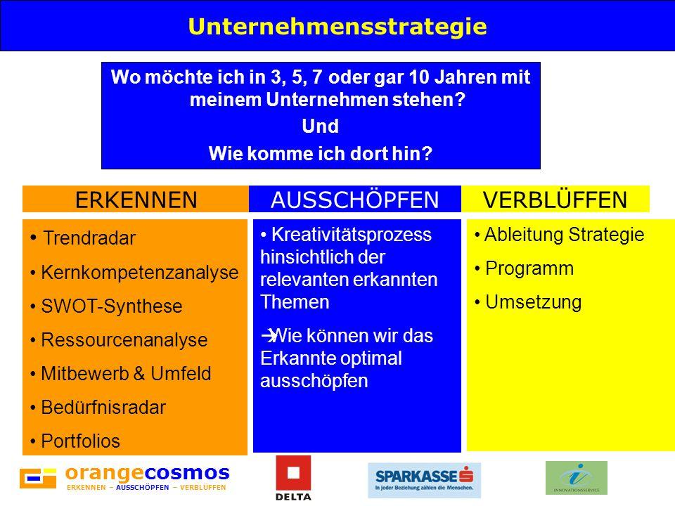 orangecosmos ERKENNEN – AUSSCHÖPFEN – VERBLÜFFEN Unternehmensstrategie Wo möchte ich in 3, 5, 7 oder gar 10 Jahren mit meinem Unternehmen stehen? Und