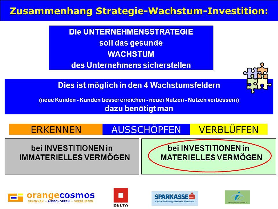 orangecosmos ERKENNEN – AUSSCHÖPFEN – VERBLÜFFEN Zusammenhang Strategie-Wachstum-Investition: Die UNTERNEHMENSSTRATEGIE soll das gesunde WACHSTUM des
