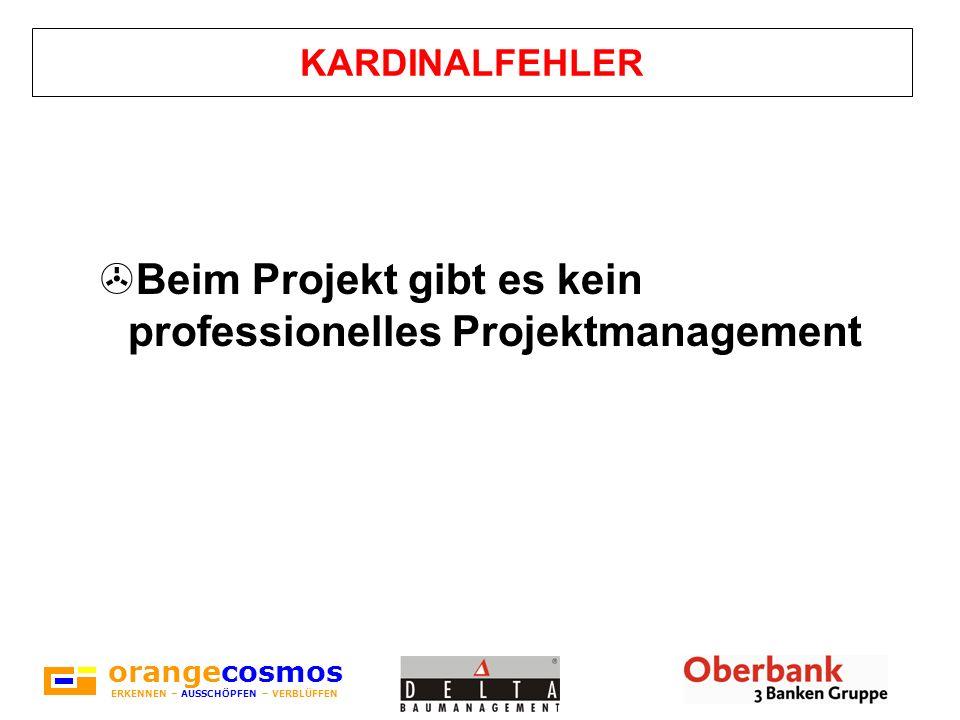 orangecosmos ERKENNEN – AUSSCHÖPFEN – VERBLÜFFEN KARDINALFEHLER >Beim Projekt gibt es kein professionelles Projektmanagement