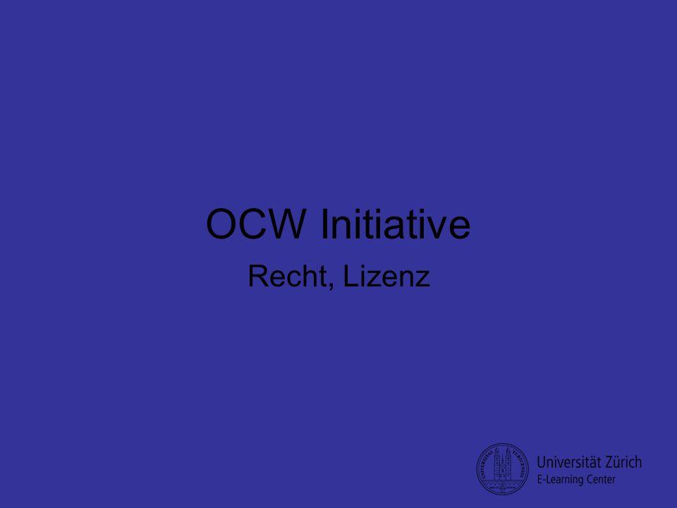OCW Initiative Recht, Lizenz