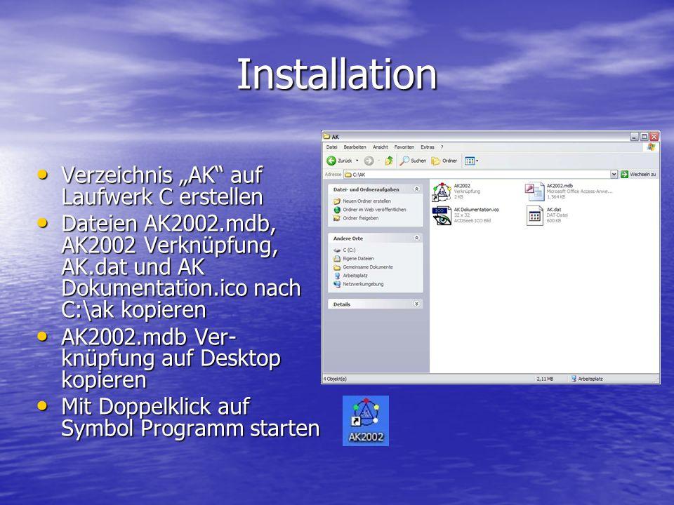 Installation Verzeichnis AK auf Laufwerk C erstellen Verzeichnis AK auf Laufwerk C erstellen Dateien AK2002.mdb, AK2002 Verknüpfung, AK.dat und AK Dok