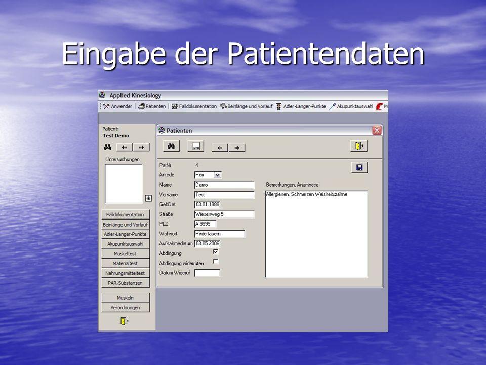 Eingabe der Patientendaten