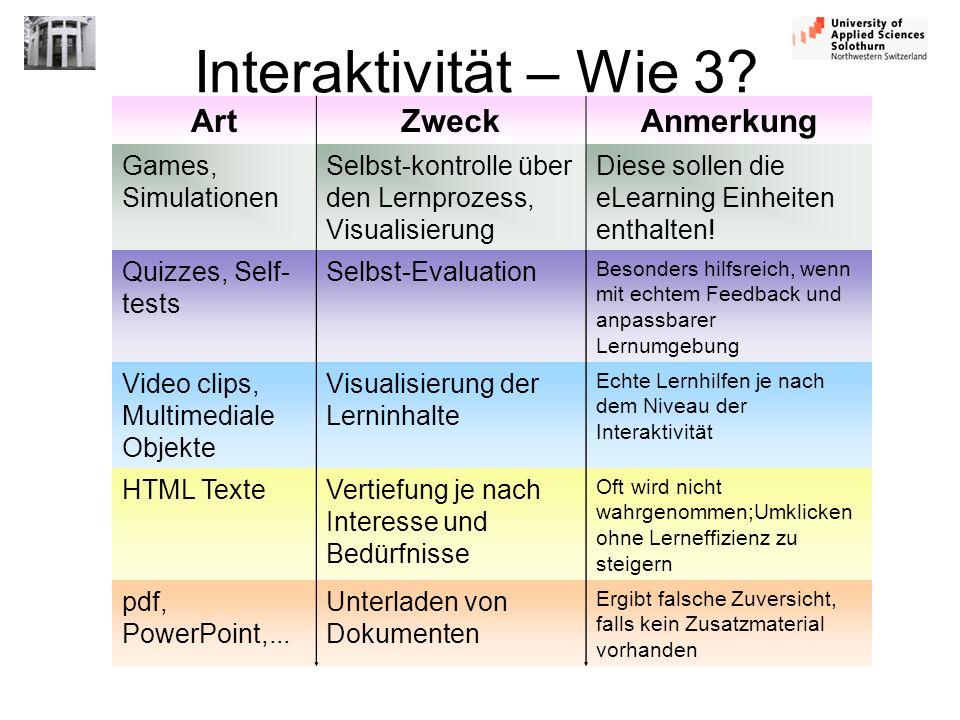 Interaktivität – Wie 3? ArtZweckAnmerkung Games, Simulationen Selbst-kontrolle über den Lernprozess, Visualisierung Diese sollen die eLearning Einheit