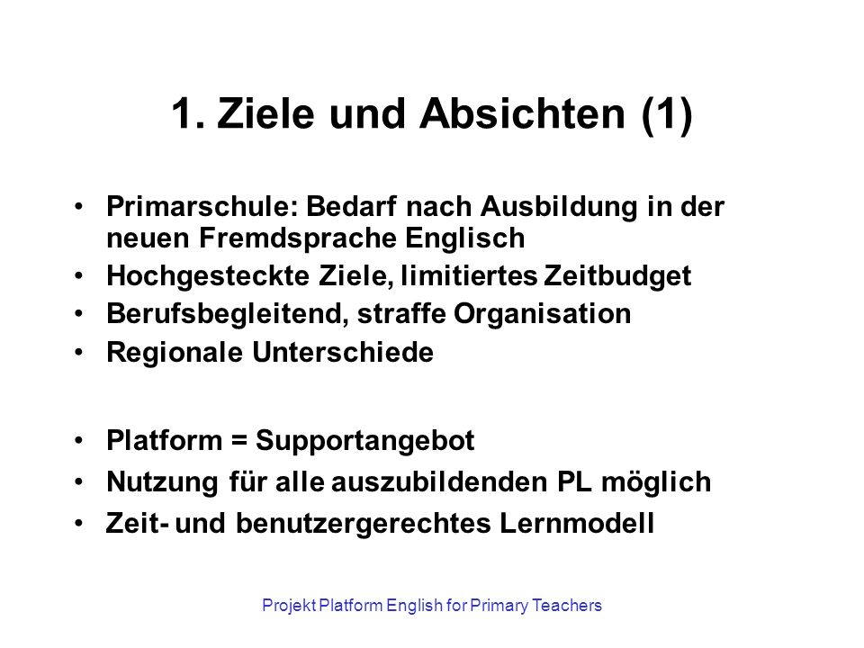 Projekt Platform English for Primary Teachers 1.