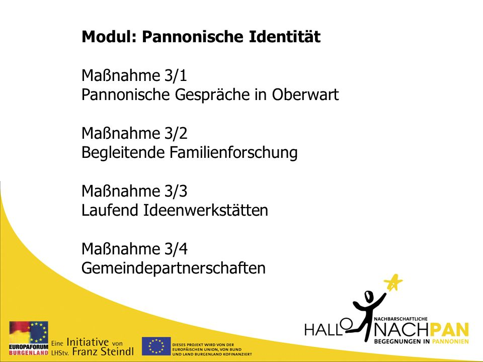 Modul: Pannonische Identität Maßnahme 3/1 Pannonische Gespräche in Oberwart Maßnahme 3/2 Begleitende Familienforschung Maßnahme 3/3 Laufend Ideenwerks