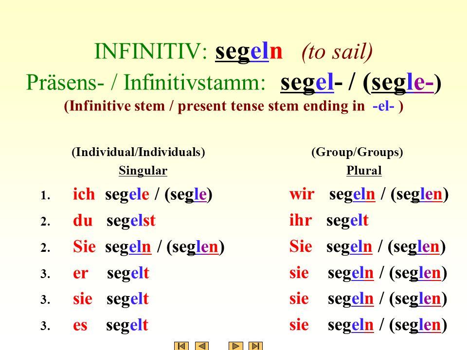 INFINITIV: segeln (to sail) Präsens- / Infinitivstamm: segel- / (segle- ) (Infinitive stem / present tense stem ending in -el- ) (Individual/Individuals) Singular 1.