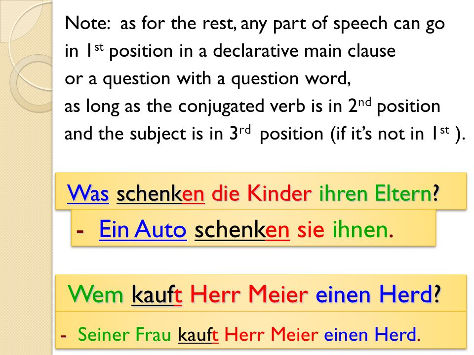 Note: as for the rest, any part of speech can go in 1 st position in a declarative main clause or a question with a question word, as long as the conjugated verb is in 2 nd position and the subject is in 3 rd position (if its not in 1 st ).