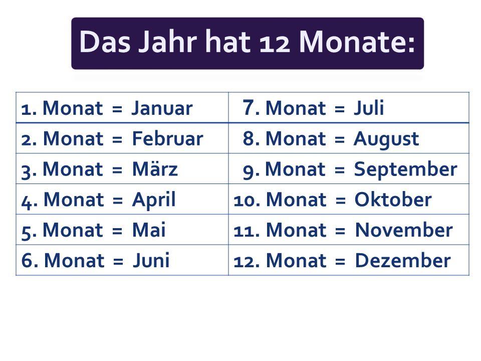 1.Monat = Januar 7. Monat = Juli 2. Monat = Februar 8.