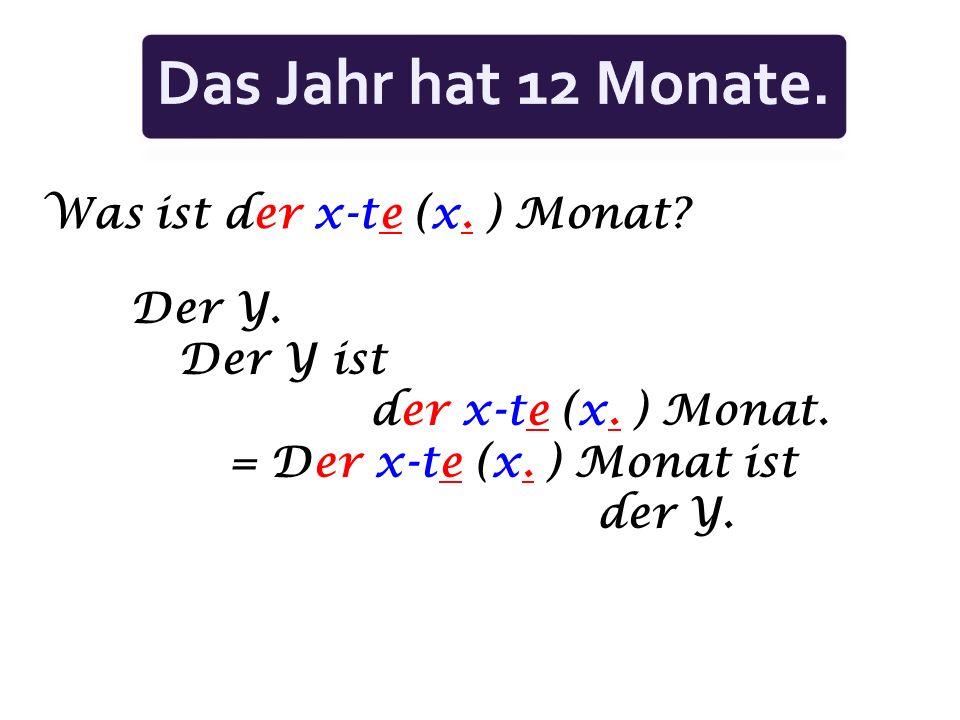 Was ist der x-te (x.) Monat. Der Y. Der Y ist der x-te (x.
