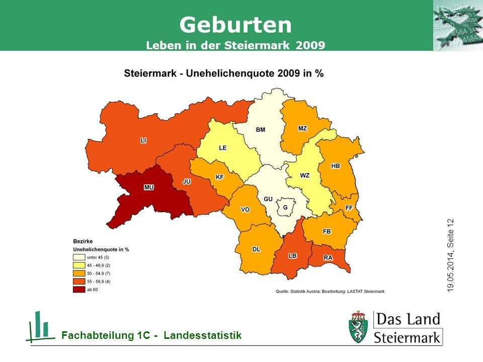 Autor 19.05.2014, Seite 12 Leben in der Steiermark 2009 Fachabteilung 1C - Landesstatistik Geburten