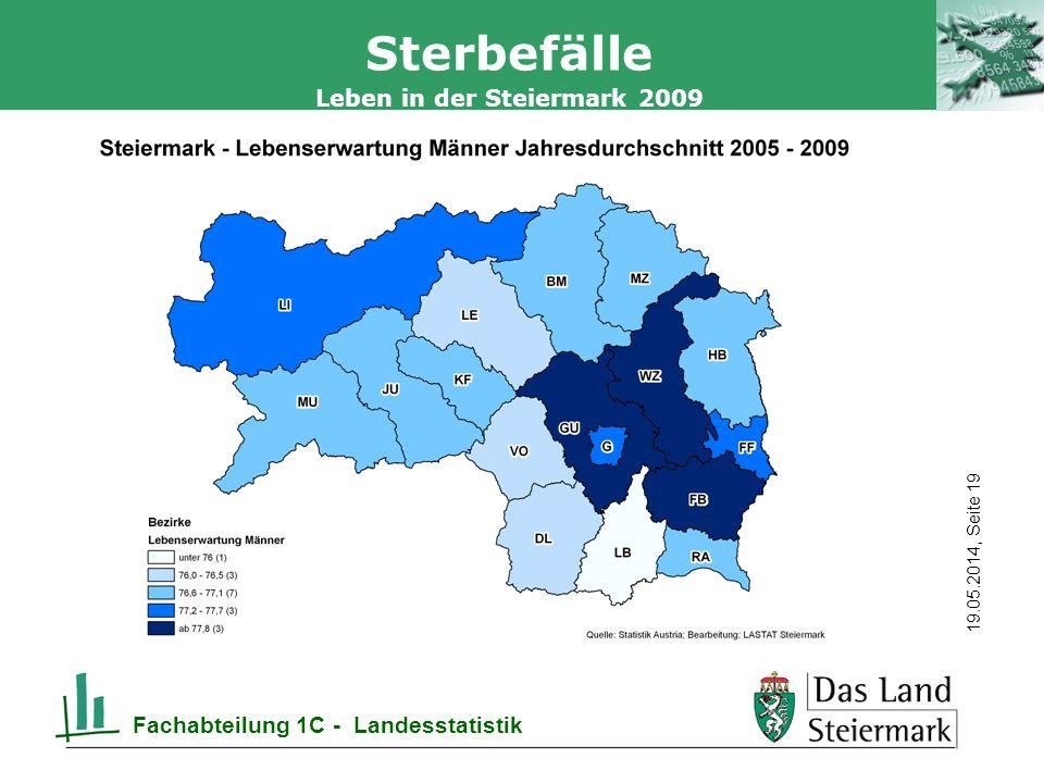 Autor 19.05.2014, Seite 19 Leben in der Steiermark 2009 Fachabteilung 1C - Landesstatistik Sterbefälle
