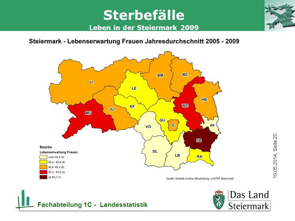 Autor 19.05.2014, Seite 20 Leben in der Steiermark 2009 Fachabteilung 1C - Landesstatistik Sterbefälle