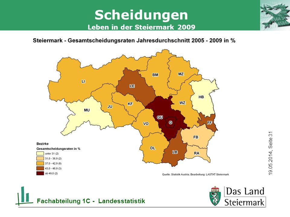 Autor 19.05.2014, Seite 31 Leben in der Steiermark 2009 Fachabteilung 1C - Landesstatistik Scheidungen