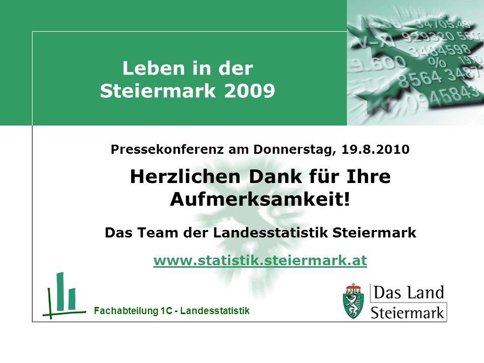 Fachabteilung 1C - Landesstatistik Leben in der Steiermark 2009 Pressekonferenz am Donnerstag, 19.8.2010 Herzlichen Dank für Ihre Aufmerksamkeit.