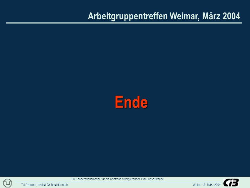 Arbeitgruppentreffen Weimar, März 2004 TU Dresden, Institut für Bauinformatik Weise 18. März 2004 Ein Kooperationsmodell für die Kontrolle divergieren