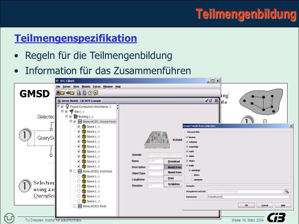 TU Dresden, Institut für Bauinformatik Weise 18. März 2004 Ein Kooperationsmodell für die Kontrolle divergierender PlanungszuständeTeilmengenbildung T