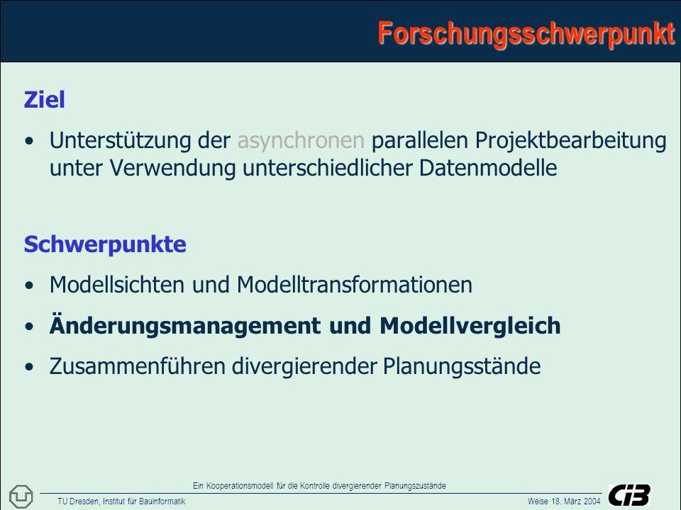 TU Dresden, Institut für Bauinformatik Weise 18. März 2004 Ein Kooperationsmodell für die Kontrolle divergierender PlanungszuständeForschungsschwerpun