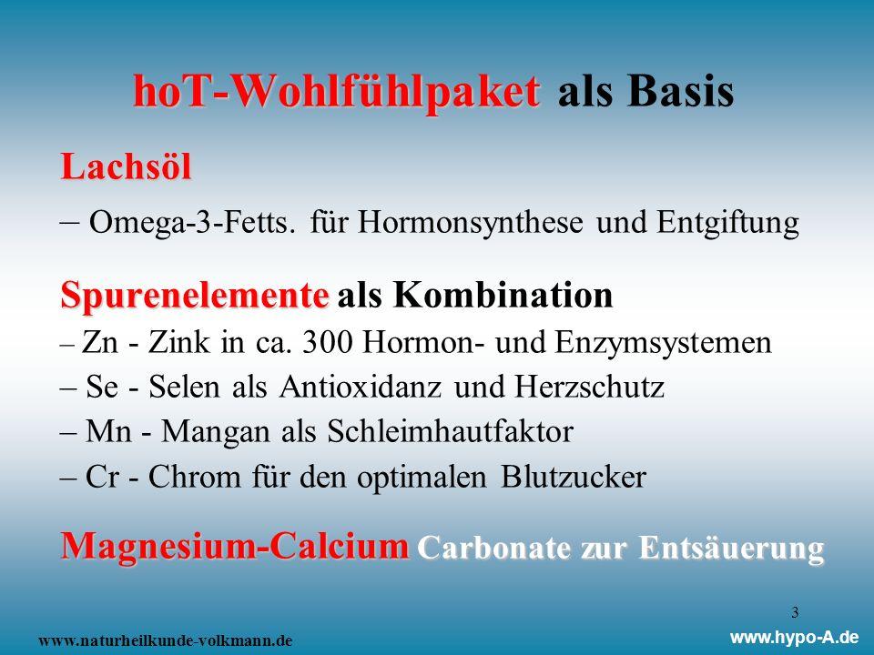3 hoT-Wohlfühlpaket hoT-Wohlfühlpaket als BasisLachsöl – Omega-3-Fetts. für Hormonsynthese und Entgiftung Spurenelemente Spurenelemente als Kombinatio