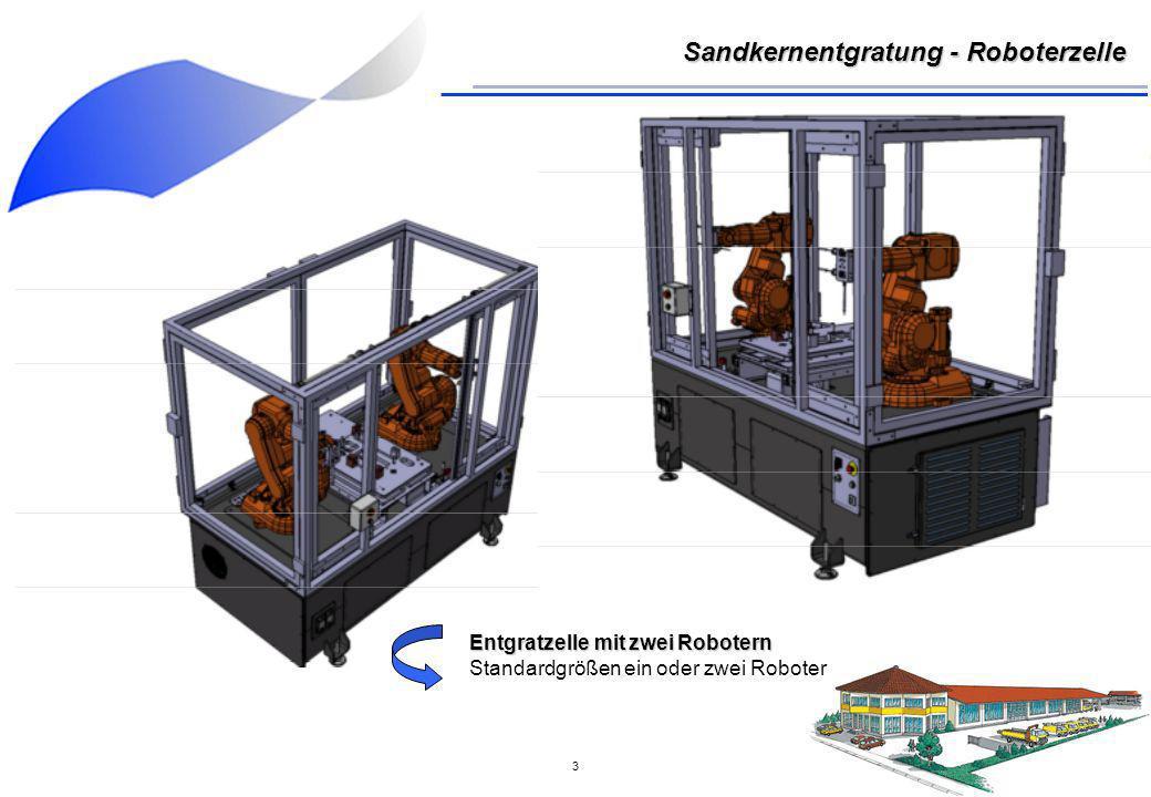 4 Schaltkasten - Steuerung Schaltkasten platzsparend an der Rückseite der Anlage montiert Sandkernentgratung - Roboterzelle Bedienpanel Bedienpanel an der Frontseite mit allen wichtigen Funktionen (Programmwahl, Not-Aus etc.)