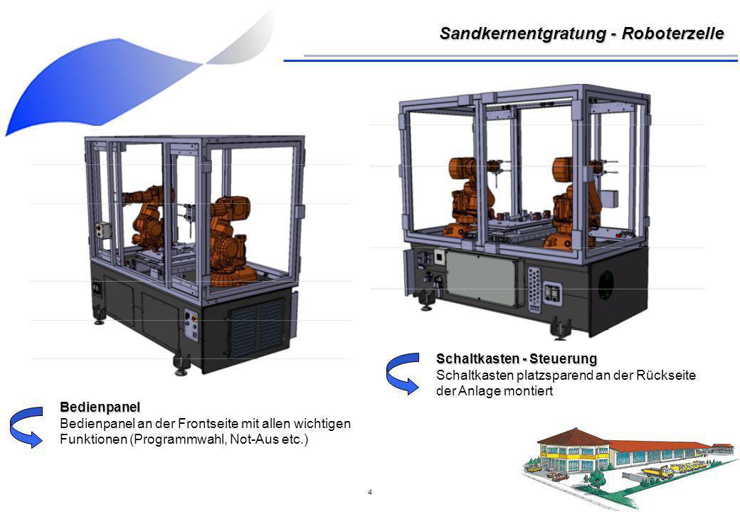 5 Sandkernentgratung - Roboterzelle Frontseite - Bedienpanel - Schutzschiebetüren mit Sicherheitsleiste - Höhenverstellbare Füße