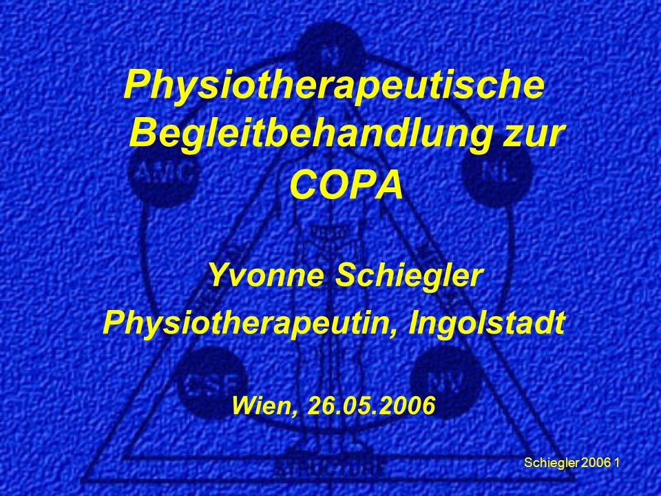 Schiegler 2006 1 Physiotherapeutische Begleitbehandlung zur COPA Yvonne Schiegler Physiotherapeutin, Ingolstadt Wien, 26.05.2006