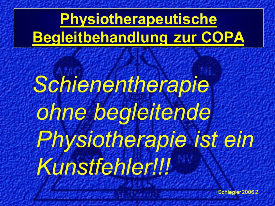 Schiegler 2006 13 Physiotherapeutische Begleitbehandlung zur COPA Pterygoideus lateralis Extraoral: * Druckinhibition (indirekt: Incisura semilunaris) Intraoral:* Druckinhibition (indirekt)