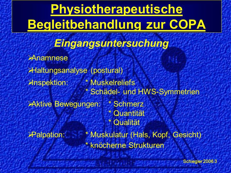 Schiegler 2006 3 Physiotherapeutische Begleitbehandlung zur COPA Eingangsuntersuchung Anamnese Haltungsanalyse (postural) Inspektion:* Muskelreliefs * Schädel- und HWS-Symmetrien Aktive Bewegungen:* Schmerz * Quantität * Qualität Palpation:* Muskulatur (Hals, Kopf, Gesicht) * knöcherne Strukturen